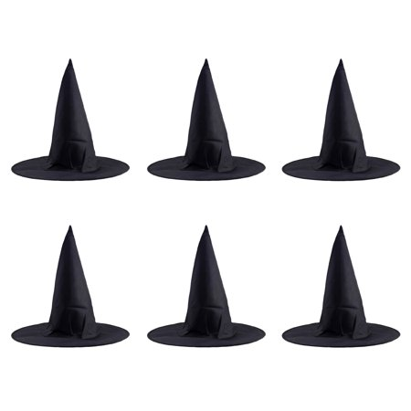 6 Pcs Halloween Steeple Witch Hat Classic Black Magic Cap Party Props Accessories