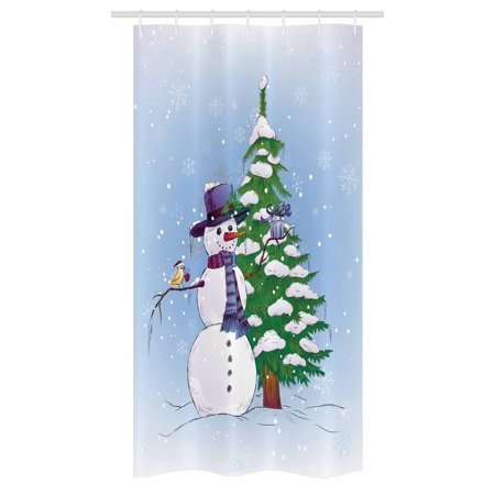 Mistle Toe Hat (Christmas Stall Shower Curtain, Snowman in the Winter with Mistletoe Present Top Hat and Scarf Tree and Bird, Fabric Bathroom Set with Hooks, 36W X 72L Inches Long, Blue Green,)