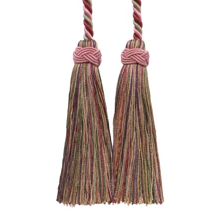 Double Tassel / Cherry Red, Beige, Green  / Tassel Tie with 4 inch Tassels, 26
