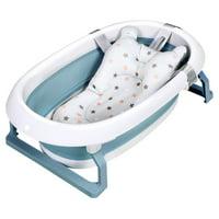 Costway Folding Baby Bathtub Newborn Toddler Collapsible Bath Support w/ Cushion BlueGreen Pink