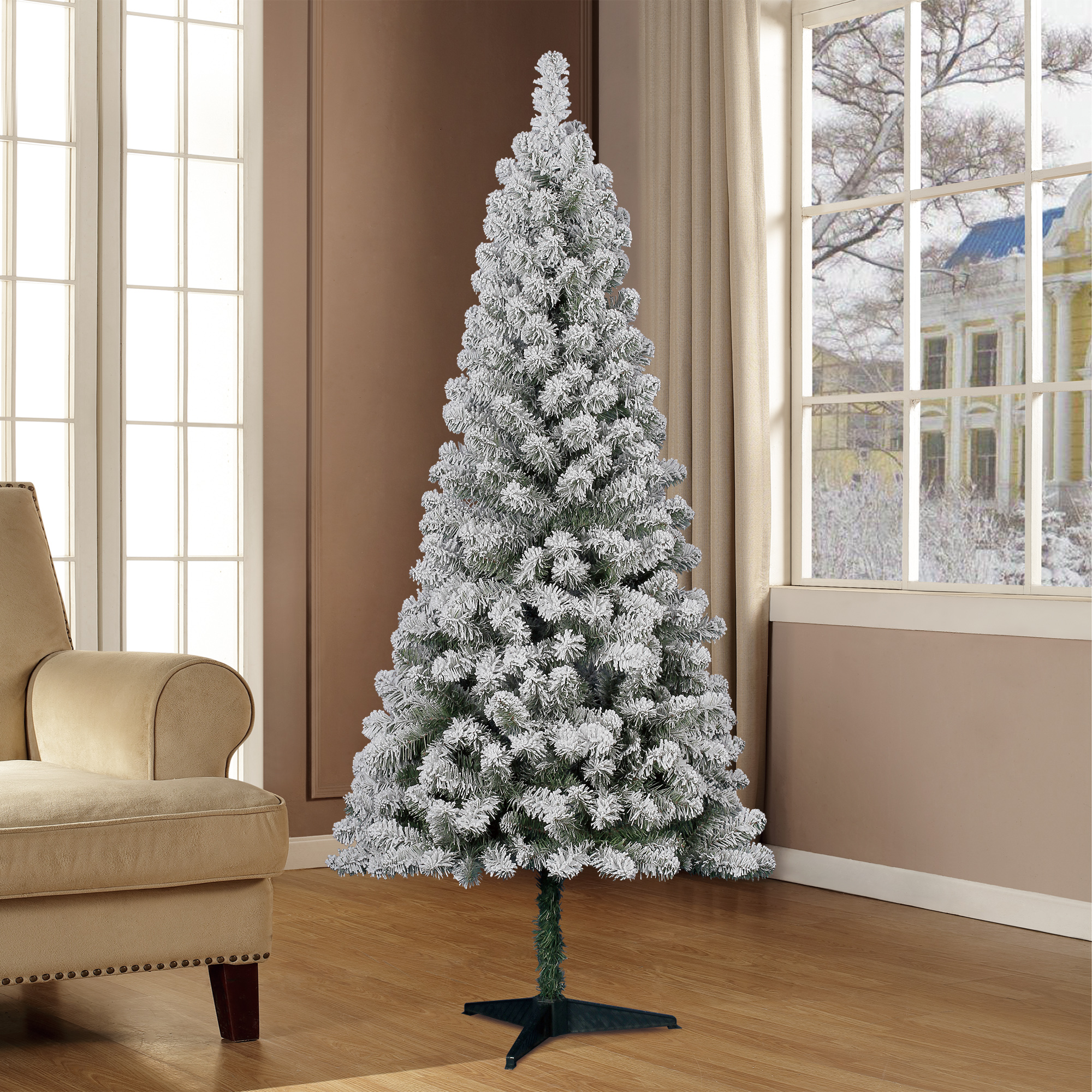 Holiday Time Flocked Pine Christmas Tree 6 Ft White On Green Walmart Com Walmart Com