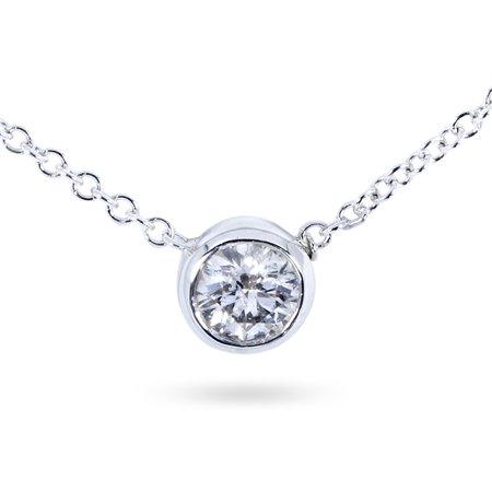 Diamond Solitaire 1/4 Carat Bezel Necklace in 14K Gold