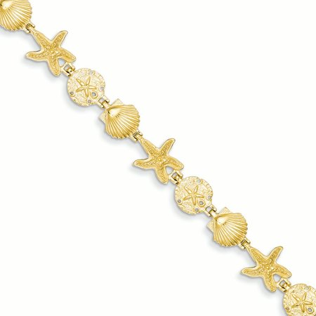 "14K Yellow Gold 10 MM Seashell Theme Bracelet, 7.5"""