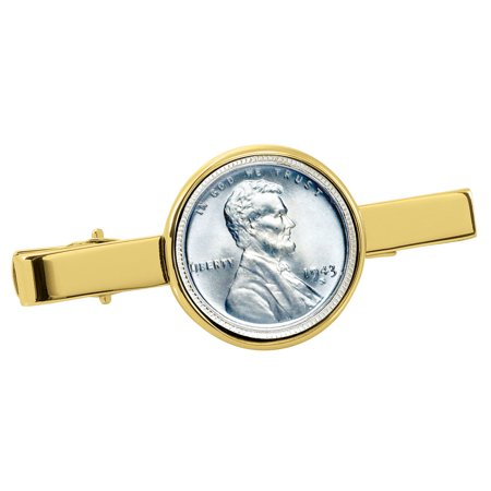 1943 Lincoln Steel Penny - 1943 Lincoln Steel Penny Goldtone Tie Clip