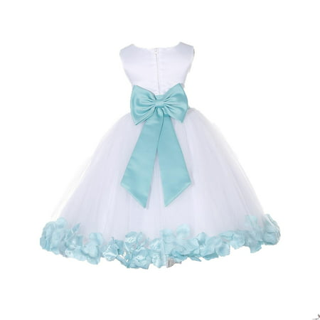 Ekidsbridal Wedding Pageant Rose Petals White Tulle Flower Girl Dress Toddler Junior Bridesmaid Recital Easter Holiday Gown Birthday Girl Dress Communion Formal Clothing Baptism 302T tiffany 2