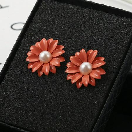 Korean Style Jewel Pearl Daisy Flower Ear Nail Earrings Women Jewelry - image 1 of 6