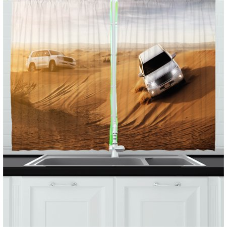 Sports Curtains 2 Panels Set, Race in the African Desert Safari Adventure Exotic Hobby Activity Picture, Window Drapes for Living Room Bedroom, 55W X 39L Inches, Sand Brown White, by Ambesonne](The Living Desert Halloween)
