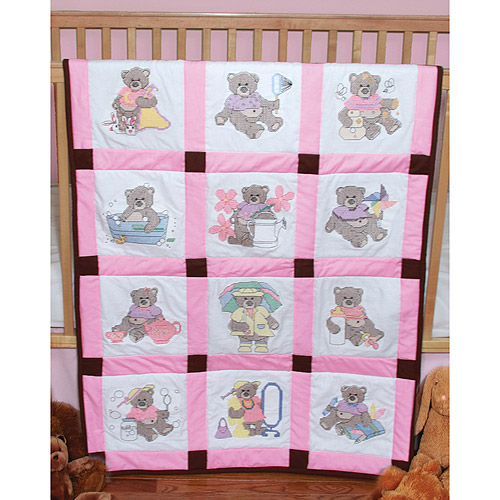 "Fairway Needlecraft Girl Bears Stamped Baby Quilt Blocks, 9"" x 9"""