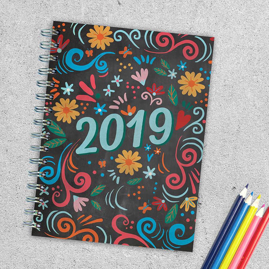 """2019 Colorful Chalk Art 6.25"""" x 8"""" January 2019-December 2019 Medium Daily Weekly Monthly Planner by TF Publishing"""
