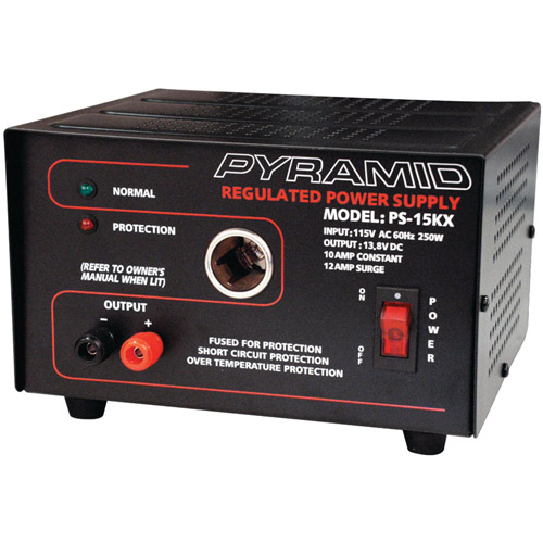 Pyramid PS15KX 10A/13.8V Power Supply with Car Charger Adapter