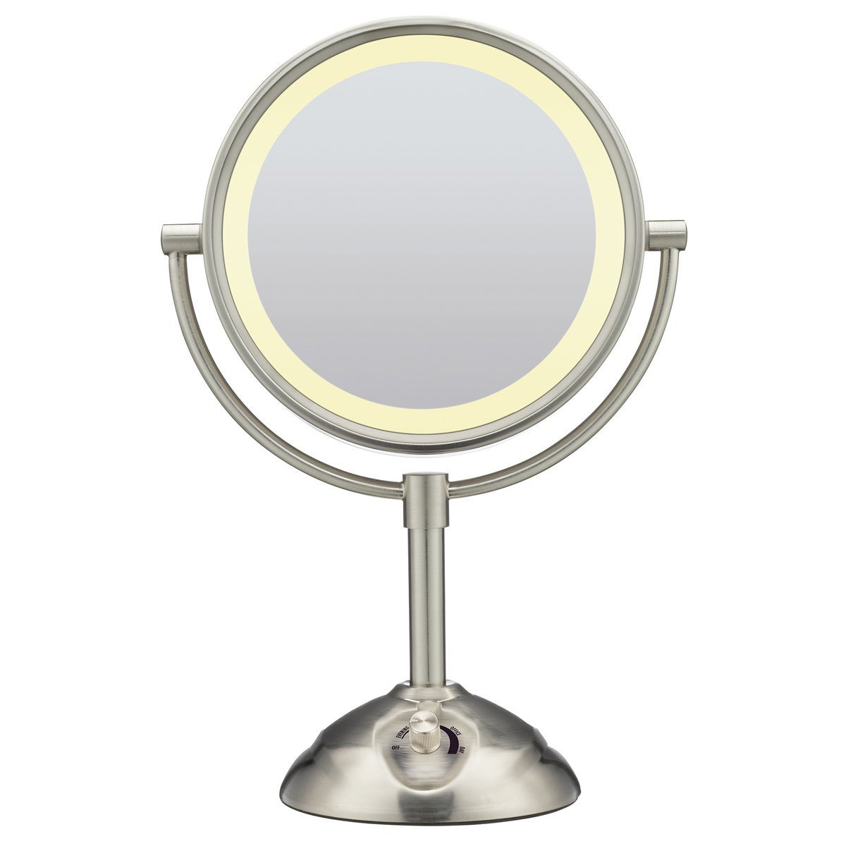 satin nickel mirror conair lighted satin nickel sided mirror 2104