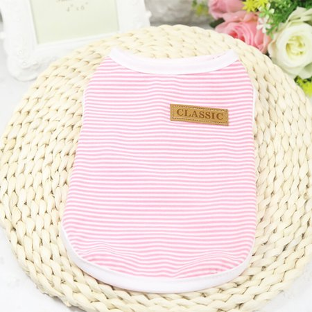 Pet Dog Puppy Classic Vest T-shirt Dog Clothes Striped Vest Apparel Summer - Pink And Black Doc Martens
