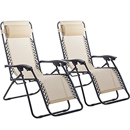 Zero Gravity Beach Chairs (Outdoor Zero Gravity Chairs with Adjustable Pillow, 2 Pack,)
