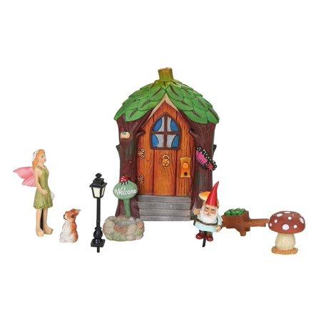Miniature Fairy Garden Figurines Starter Kit 8 Piece Set Mini Fairie Door Gnome (Miniature Figurines)