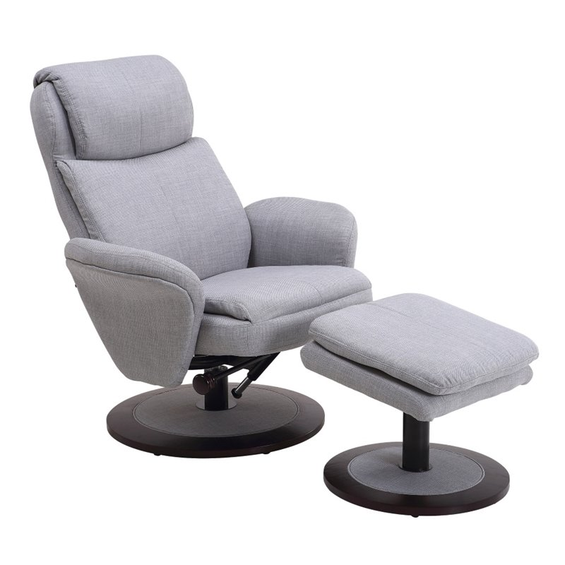 Bowery Hill Swivel Recliner and Ottoman in Light Gray
