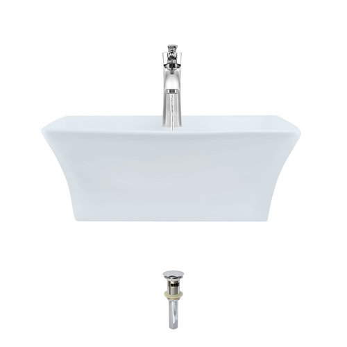 Mr Direct Vitreous China Rectangular Vessel Bathroom Sink With Faucet And Overflow Walmart Com Walmart Com