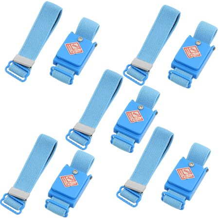 5 Pcs Blue Anti Static ESD Discharge Cordless Wrist Strap Band