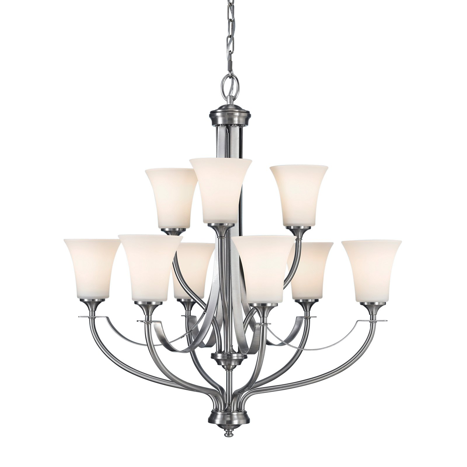 Feiss Barrington Chandelier 29W in. Brushed Steel by Murray Feiss