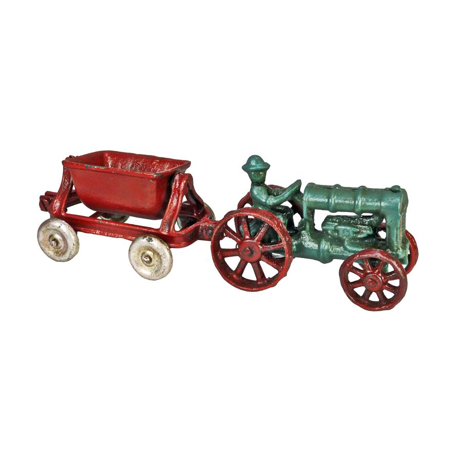 Fordson Tractor with Spill Wagon Replica Cast Iron Farm Toy Tractor by Design Toscano