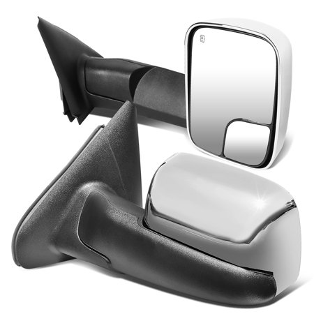 For 2002 to 2009 Dodge Ram Truck 1500 2500 3500 Pair Power Adjustment Heated Flip Up Towing Mirror Chrome Cover 03 04 05 06 07 08 (03 Excursion Tow Mirrors)