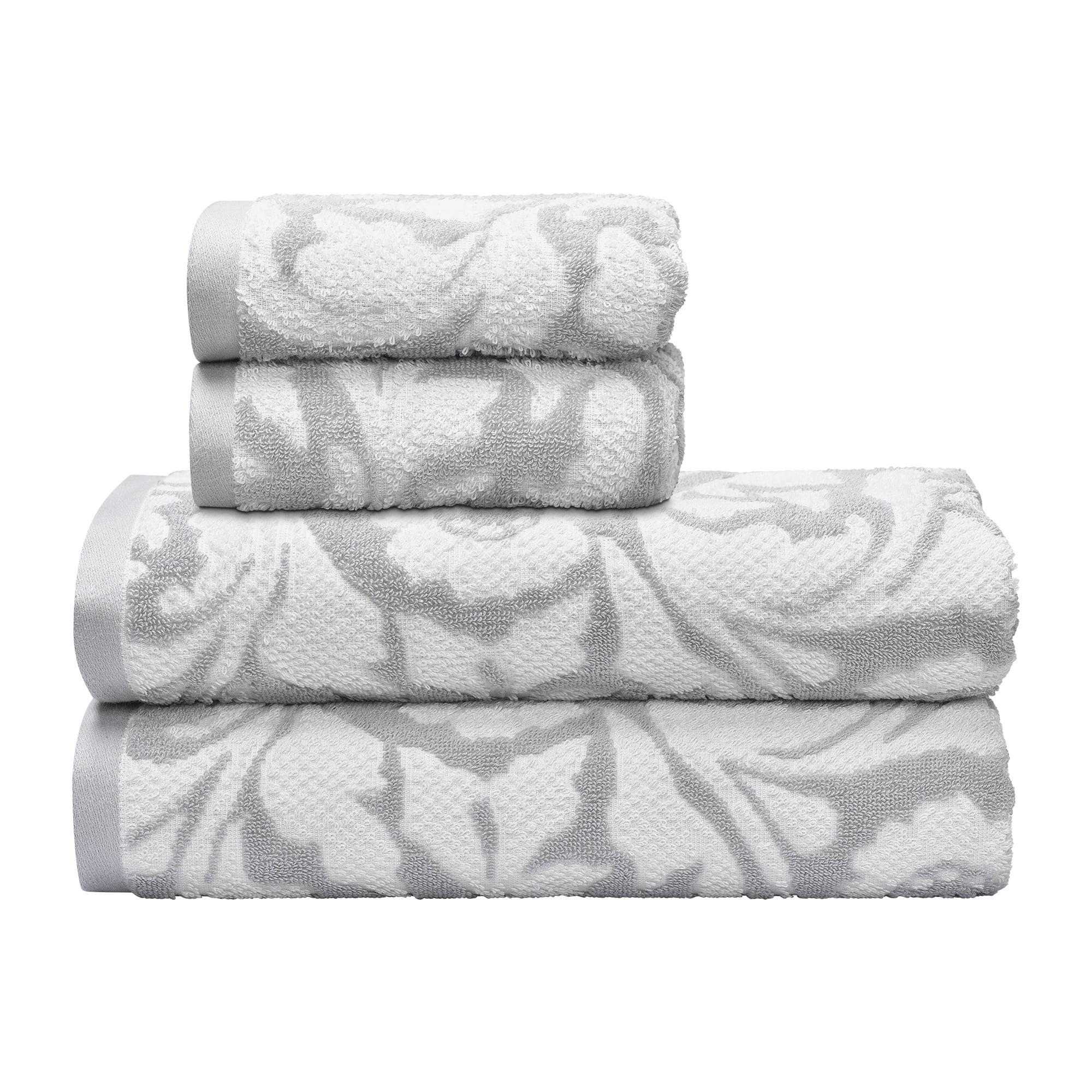 Better Homes & Gardens 100% Cotton Floral Waves 4 pc Bath Towel Set
