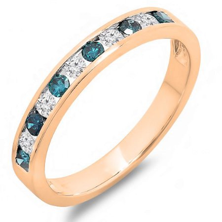 0.50 Carat (ctw) 18k Gold Round White & Blue Diamond Anniversary Wedding Stackable Ring Band 1/2 CT