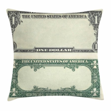 Money Throw Pillow Cushion Cover, One Dollar Bill Buck Design American Federal Reserve Note Pattern Wealth Symbol, Decorative Square Accent Pillow Case, 18 X 18 Inches, Pale Green Grey, by (1 Federal Reserve Note)