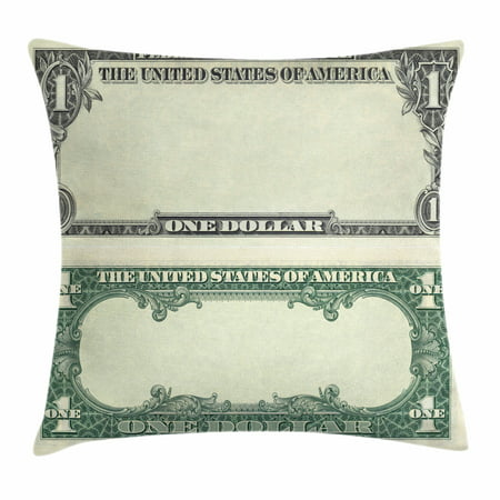 Money Throw Pillow Cushion Cover, One Dollar Bill Buck Design American Federal Reserve Note Pattern Wealth Symbol, Decorative Square Accent Pillow Case, 20 X 20 Inches, Pale Green Grey, by (1 Federal Reserve Note)