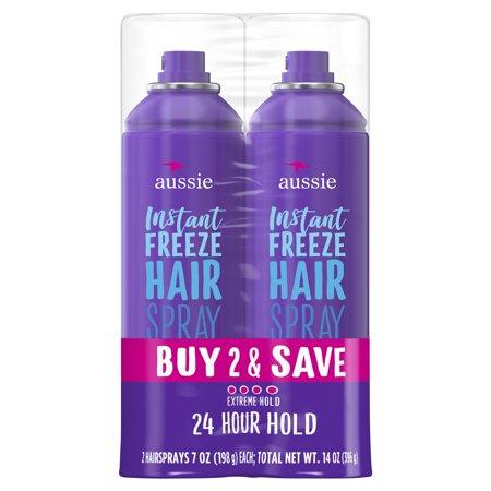 Aussie Instant Freeze Hairspray with Jojoba & Sea Kelp, 7.0 oz Twin Pack