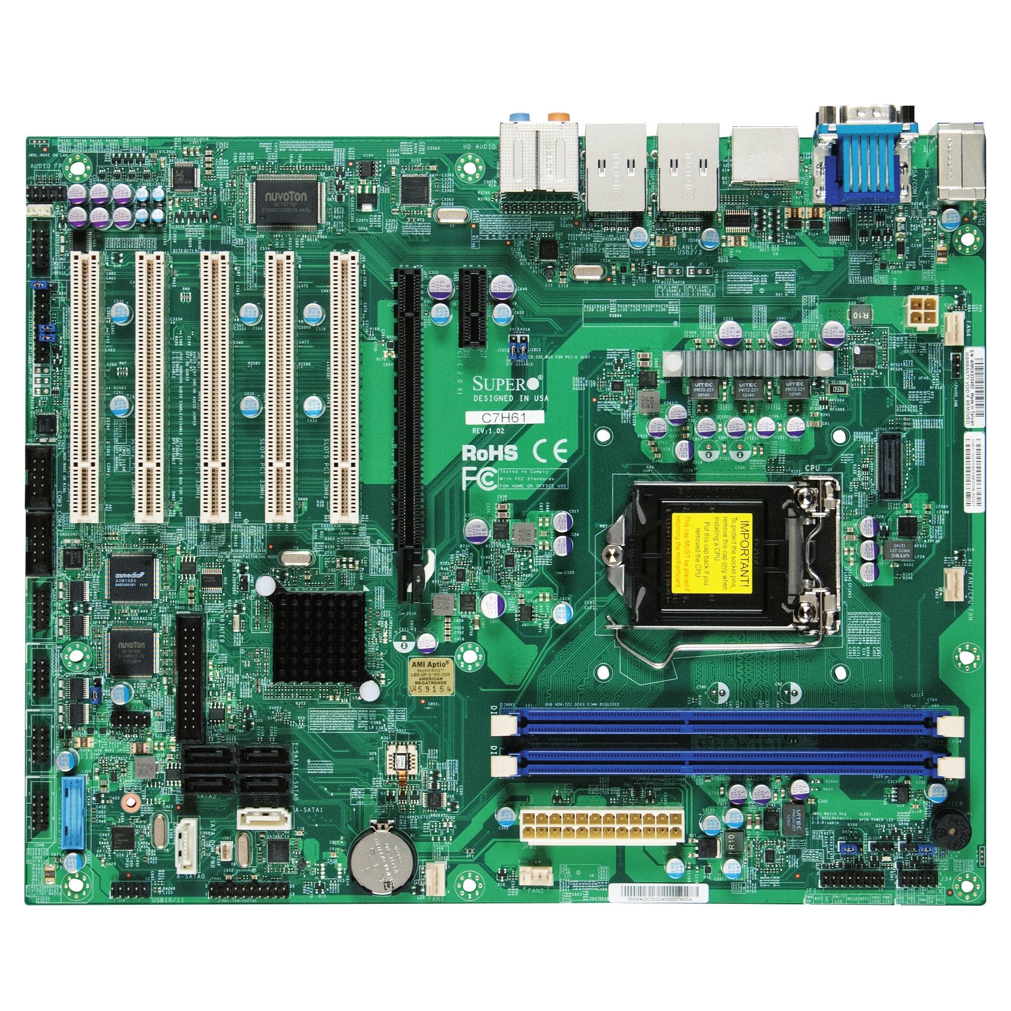 Super Micro C7H61 - motherboard - ATX - LGA1155 Socket - H61