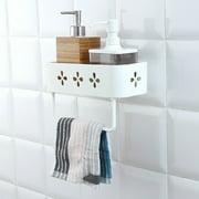 Jeobest Wall Storage Rack Basket - Bathroom Storage Wall Shelf - Wall Storage Rack Organizer Stick Type Shower Shelf Basket Bathroom Shampoo Holder Storage Kitchen Bathroom Hardware White MZ
