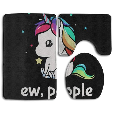 EREHome Ew People Unicorn 3 Piece Bathroom Rugs Set Bath Rug Contour Mat and Toilet Lid Cover - image 1 of 2