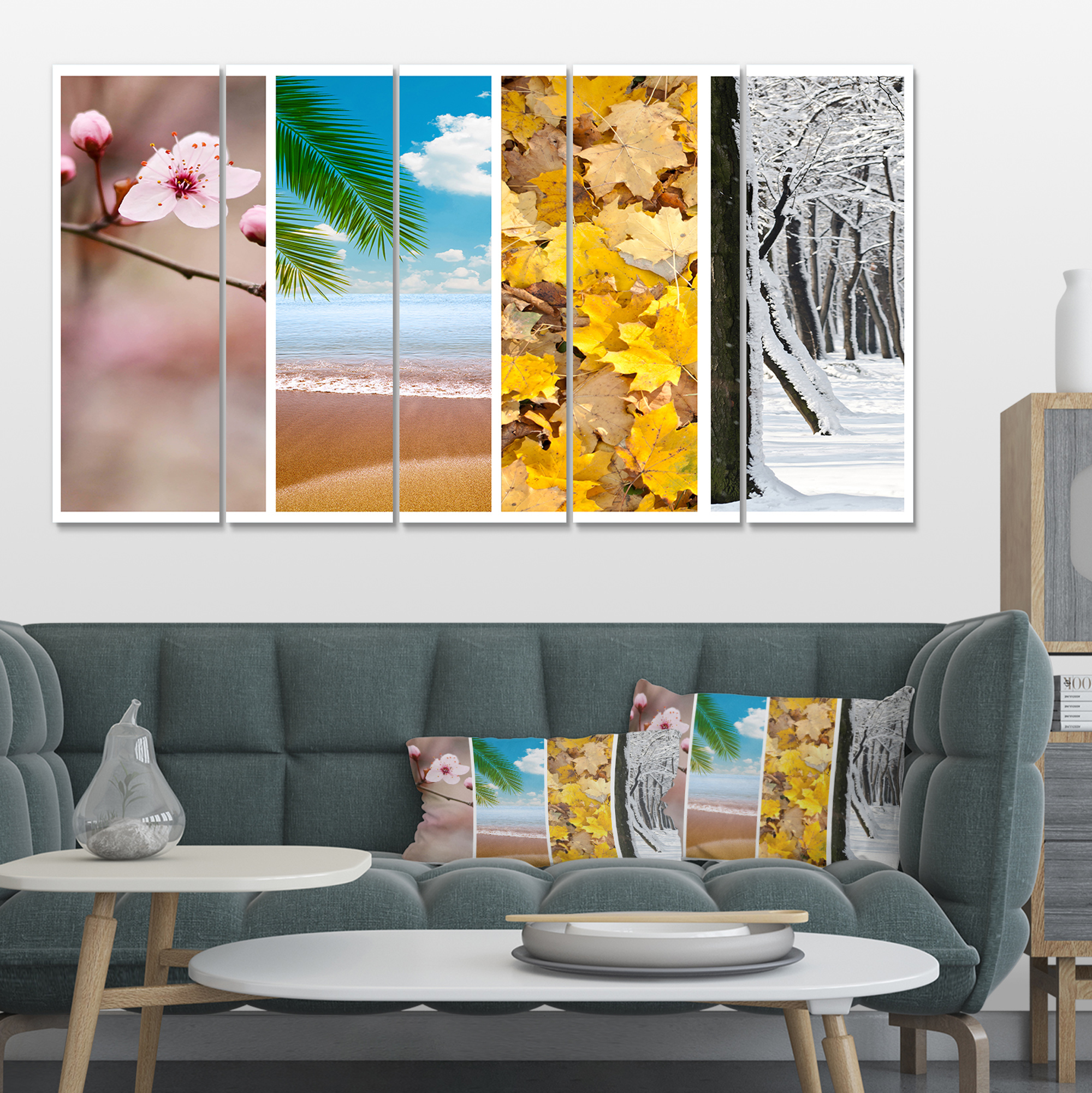 Four seasons world collage landscape canvas art print