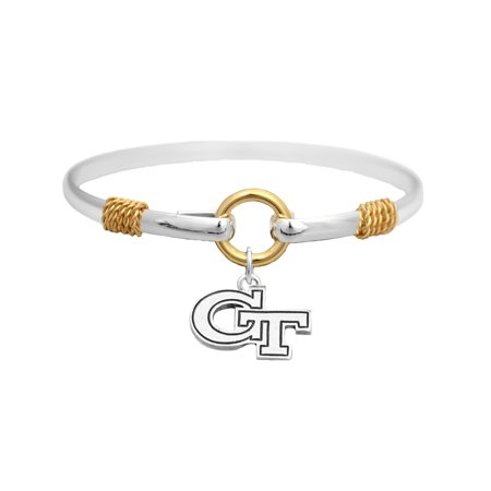 Georgia Tech Yellow Jackets Two Tone Silver Gold Cuff Bracelet Charm Jewelry GT  Officially Licensed NCAA Product Licensed By From The Heart Enterprises