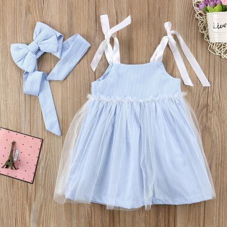 Fashion Infant Kids Clothes Set Baby Girl Summer Stripes Lace Tulle Dress Sundress 2Pcs Kids Gift