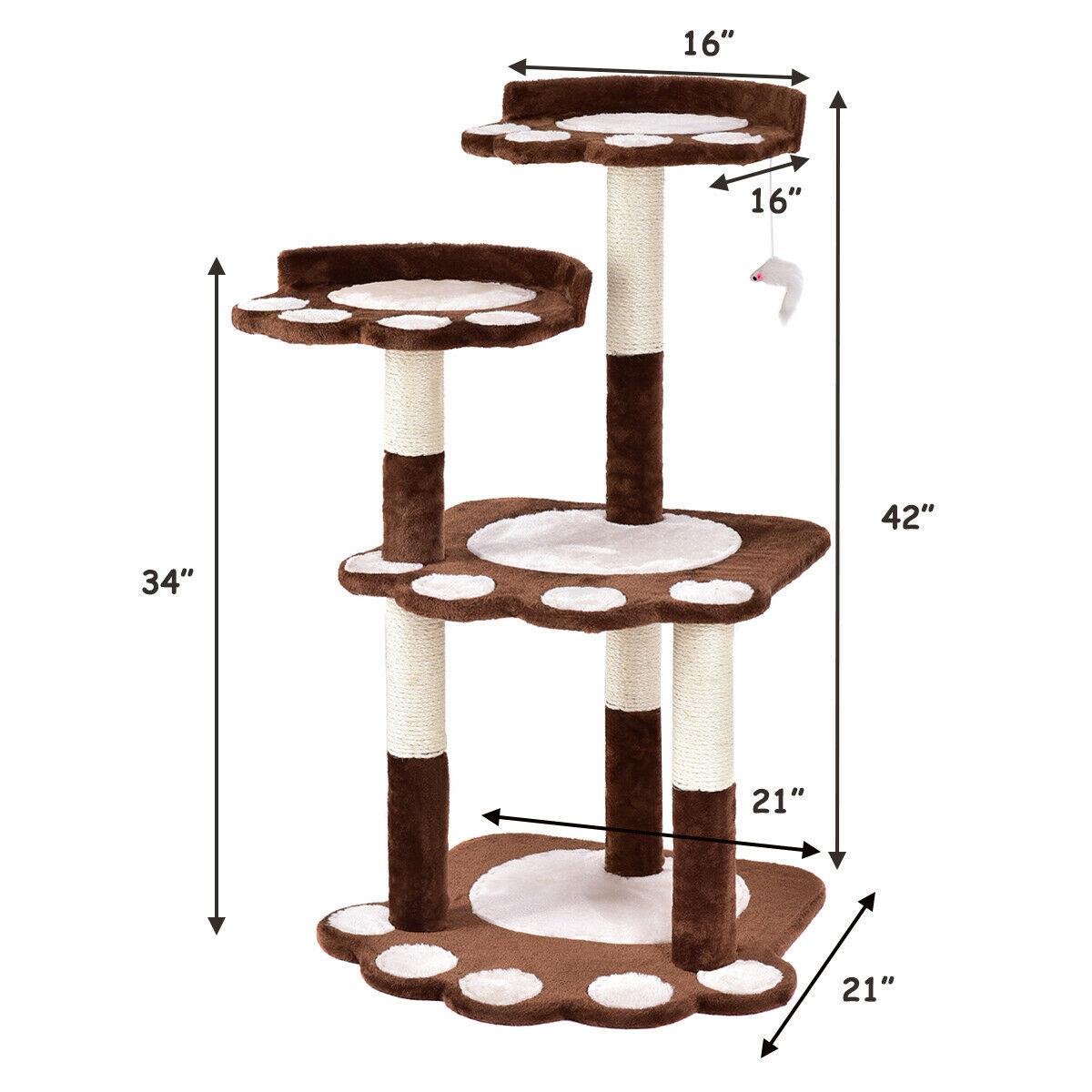 Gymax 42'' Cat Tree Kitten Pet Furniture Multi-level Climb Scratching Posts Paw Brown - image 9 de 10