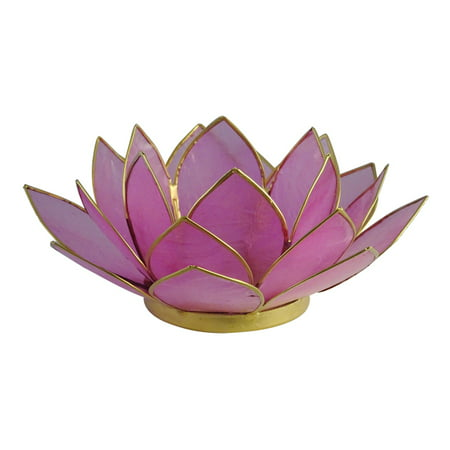 The Crabby Nook Lotus Tea Light Candle Holder Capiz Shell Decorating Accent Home Decor Gift Ideas, Pastel Light Pink ()