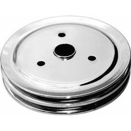 Racing Power Company R9603 Chrome SWP Double Groove Crank Pulley for Small (Double Groove Crank)