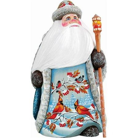 G.Debrekht 821559 Woodcarving Sing Song Red Cardinal Santa 6.25 in. - Woodcarved Santa