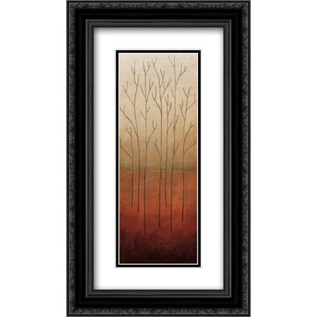 - Branch Rouge II 2x Matted 14x24 Black Ornate Framed Art Print by Eve