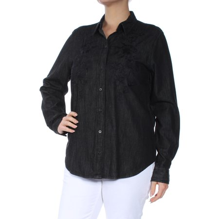 Ralph Lauren Womens Black Embroidered  Buttoned Barrel Cuffs Long Sleeve Collared Button Up Top  Size: L