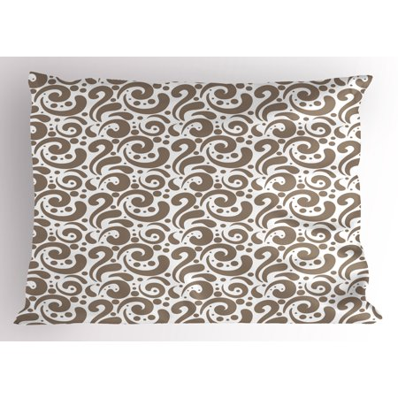 Art Pillow Sham Swirled Curved Bold Lines Brushstrokes Big and Little Polka Dots Circular Abstract, Decorative Standard Size Printed Pillowcase, 26 X 20 Inches, Cocoa White, by (Cocoa Swirl)