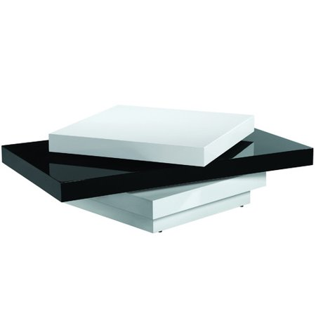 Armen Living Modern Swivel Coffee Table Black And White High Gloss Finish
