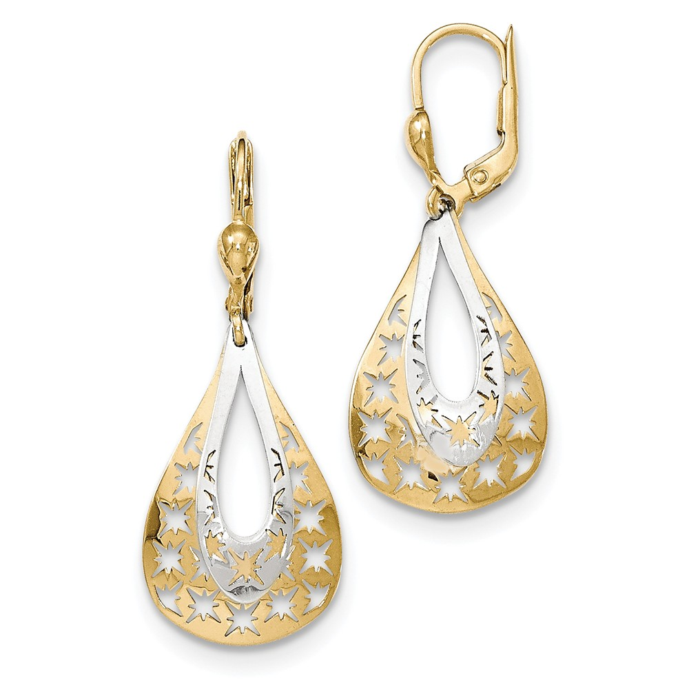 14K Two Tone White & Yellow Gold Polished Dangle Leverback Earrings (1.4IN Long