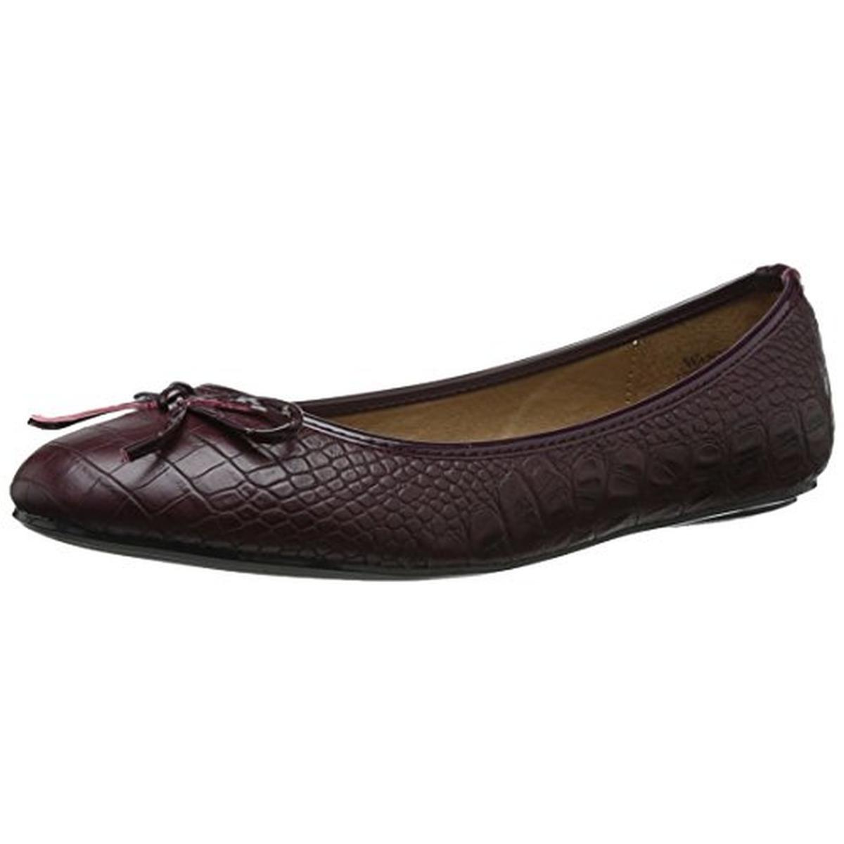 Wanted Womens Ficus Embossed Lizard Print Ballet Flats