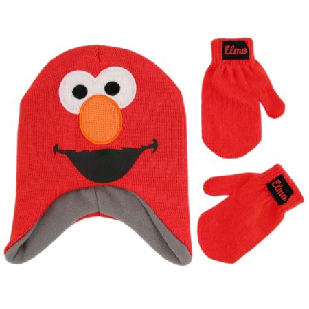 Sesame Street Elmo Hat and Mittens Cold Weather Set, Toddler Boys, Age (Emo Gloves)