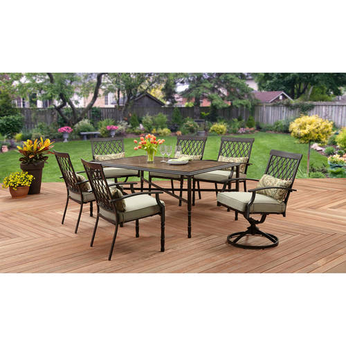 Better Homes and Gardens Rockwood Trellis-back 7-Piece Dining Set, Faux Stone Table