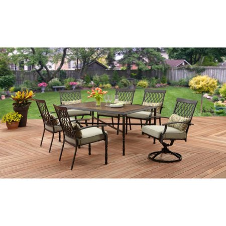 Better Homes And Gardens Rockwood Trellis Back 7 Piece Dining Set Faux Stone Table