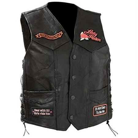 Diamond Plate Ladies Rock Design Genuine Leather Vest- 4x