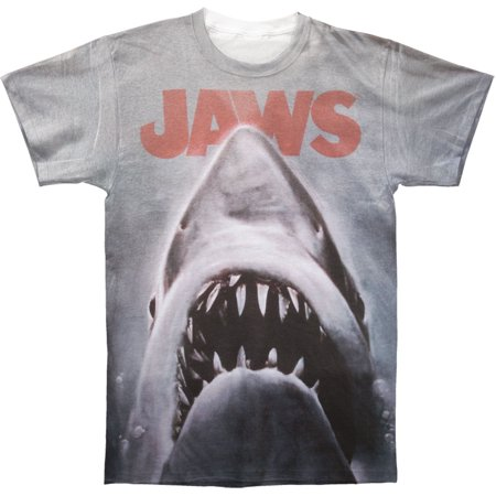 Jaws Mens  Poster Sublimation T Shirt White
